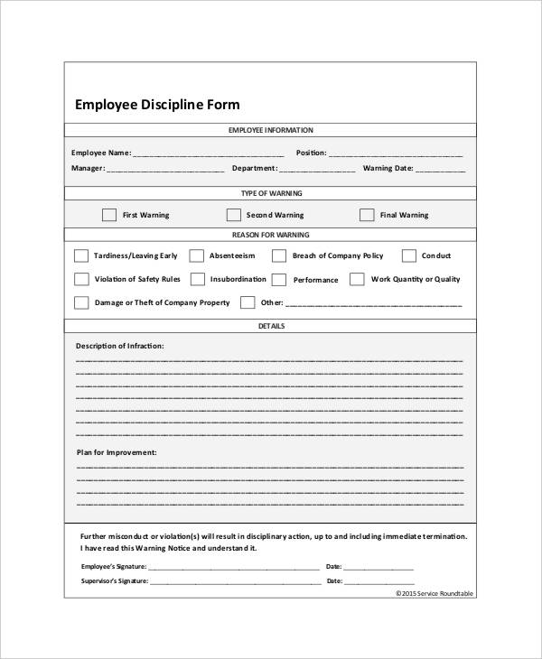 Employee Write Up Form For Disciplinary Action