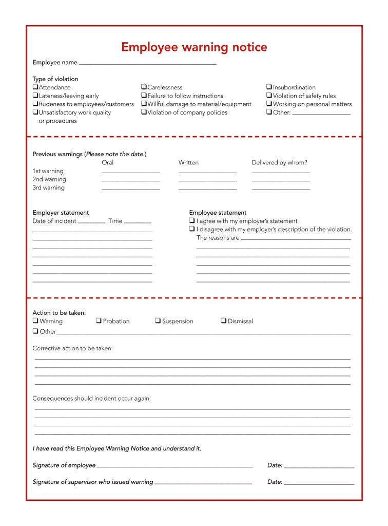 23  employee write up form free download  word pdf