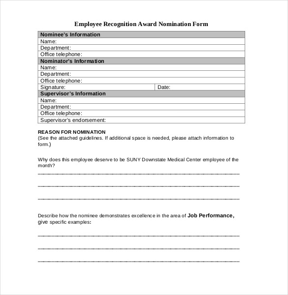 Employee recognition form