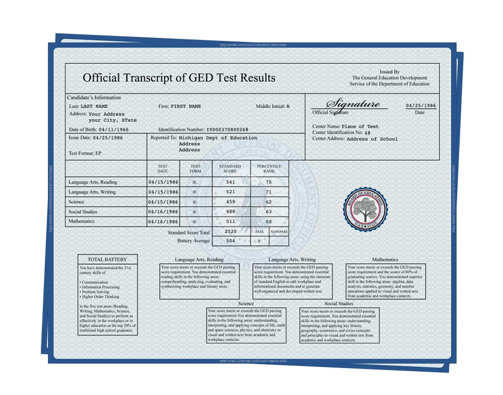 Fake GED Transcript