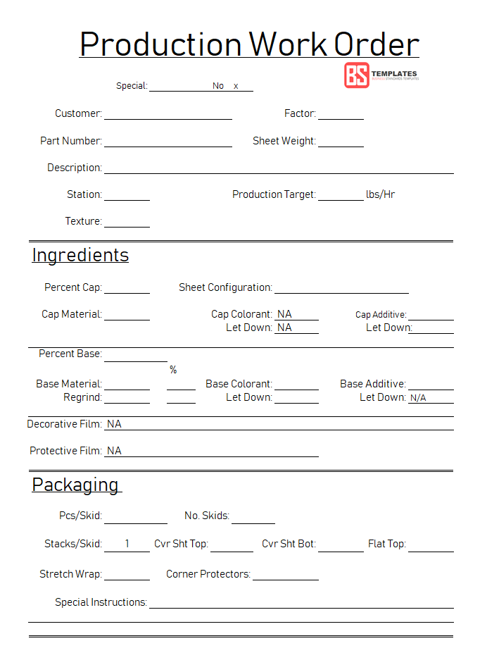 Production Order Form Template