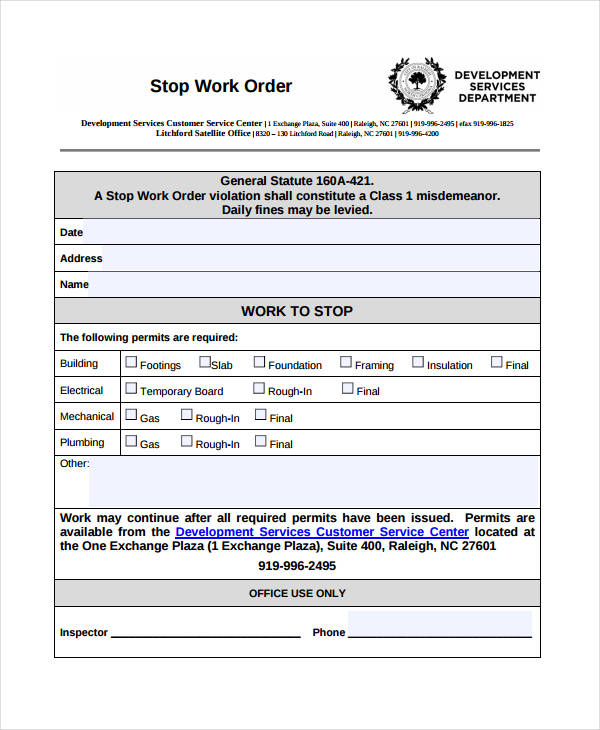 Stop Work Order Template