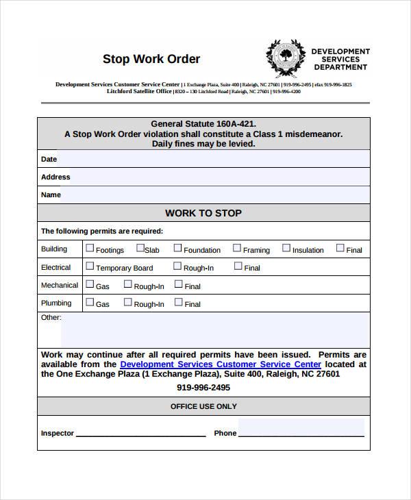 Stop Work Order Template