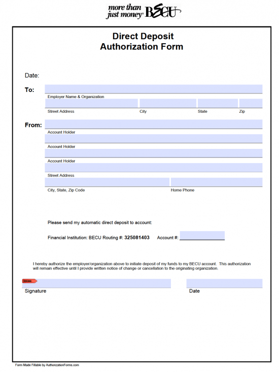 direct deposit form employer  12+ Payment Authorization Forms Free Download | Templates Study