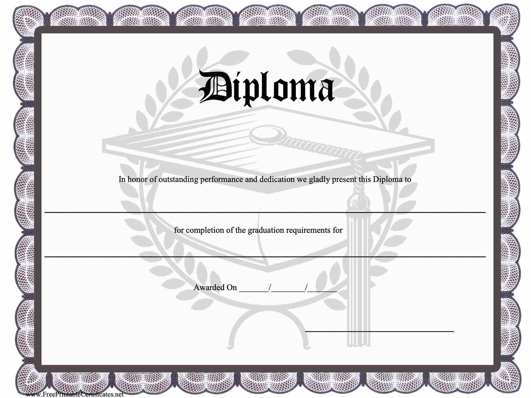 It is a graphic of Crazy Printable Diploma Templates