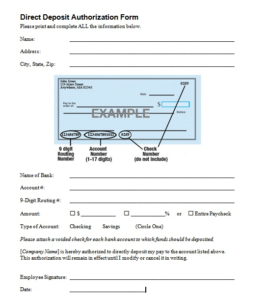 Deposit Authorization Form