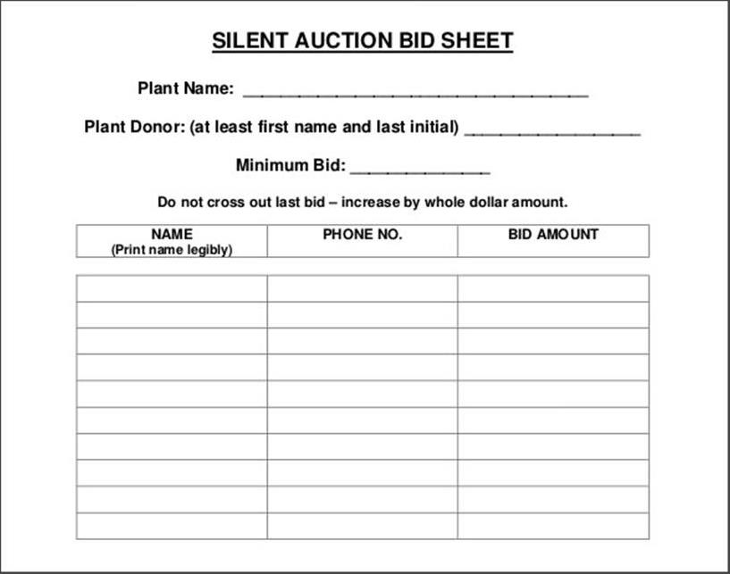 photo regarding Free Printable Bid Sheets identify 21+ Tranquil Auction Bid Sheets Absolutely free Down load [Phrase, Excel] 2019