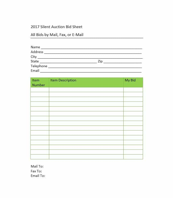 Silent auction bid form