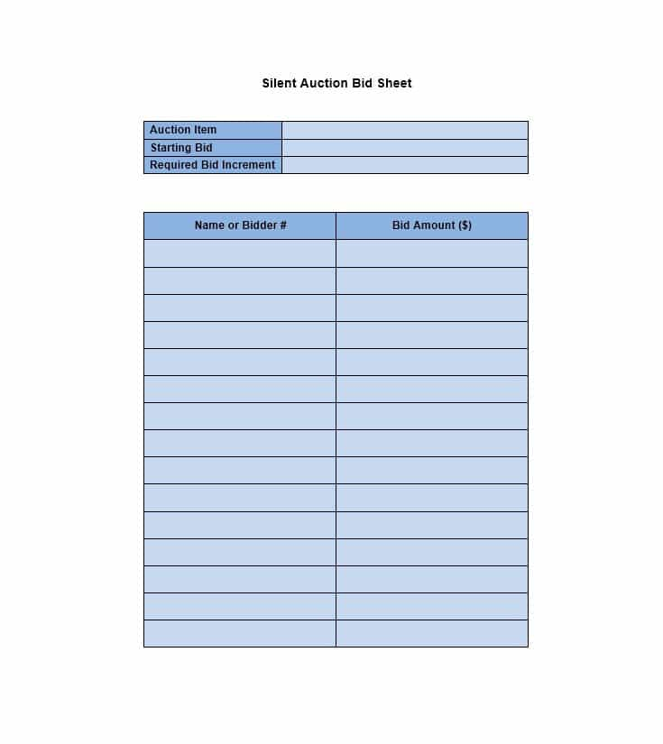 21 Silent Auction Bid Sheets Free Download Templates Study