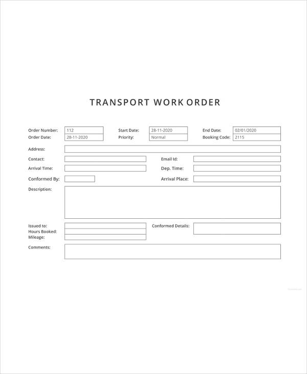 Transport Work Order