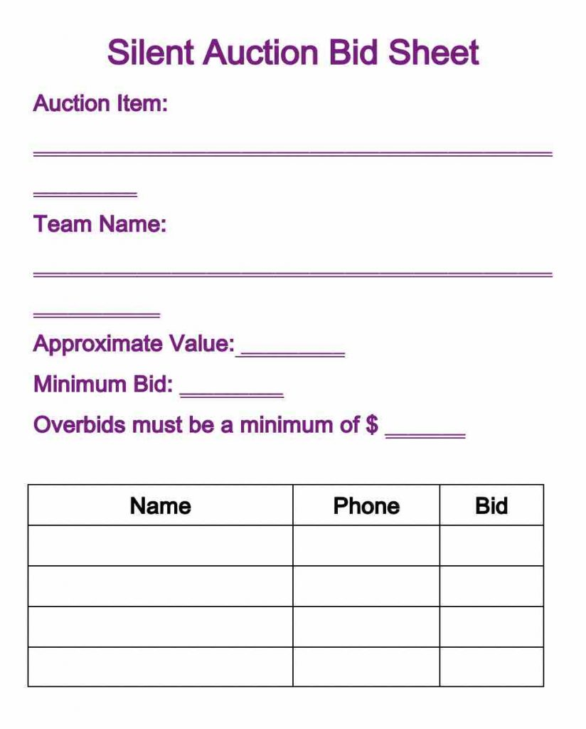 bid sheet doc