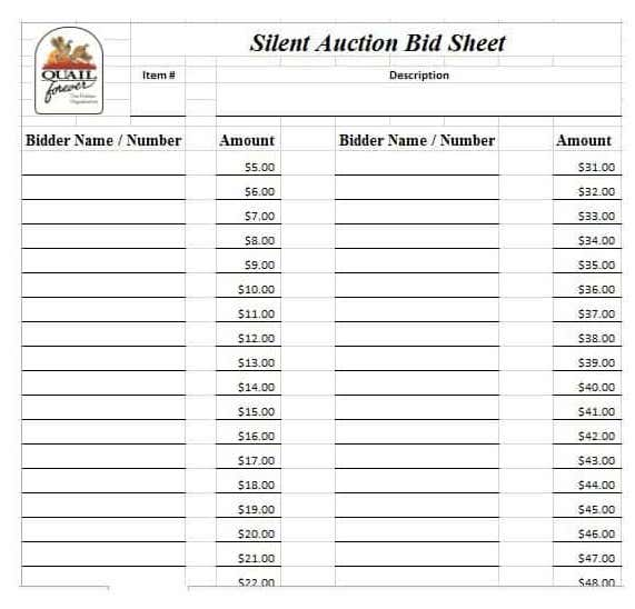 graphic about Printable Silent Auction Bid Sheets identify 21+ Tranquil Auction Bid Sheets Absolutely free Down load [Phrase, Excel] 2019