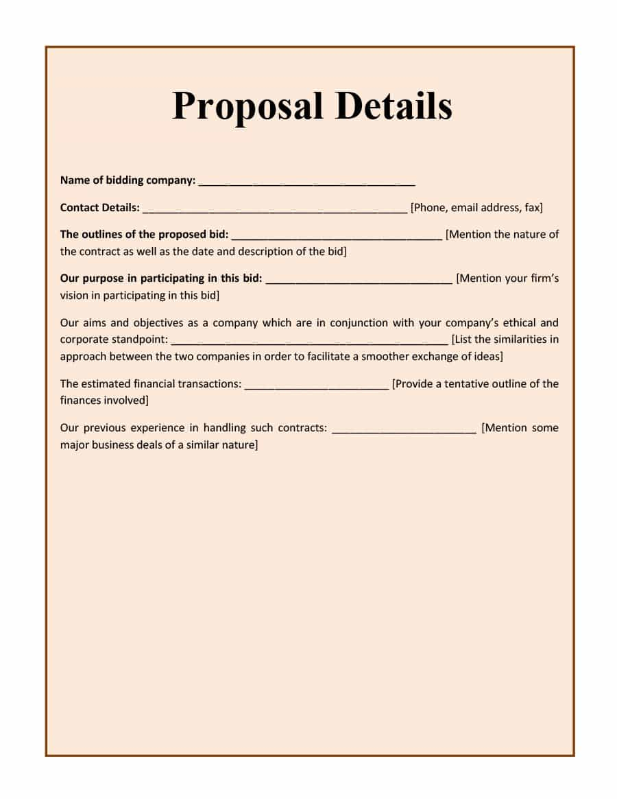 photograph about Free Printable Bid Proposal Forms called 10+ Bid Proposal Templates Totally free Obtain!! - Templates Analysis